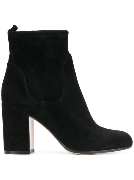 women classic ankle boots leather suede black shoes