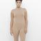Now you see me nude mock neck bodycon romper at flyjane