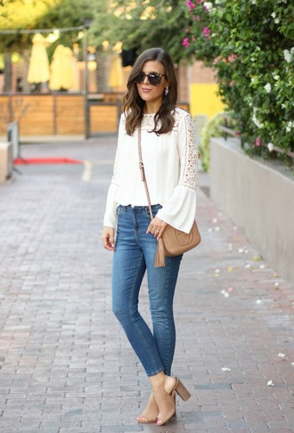 sophistifunk by brie bemis rearick | a personal style + beauty blog blogger shoes jewels sunglasses white top long sleeves lace top white lace shoulder bag gucci nude bag beige skinny jeans nude boots open toes thick heel work outfits tassel