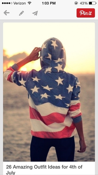 jacket american flag hoodie sweater red white and blue