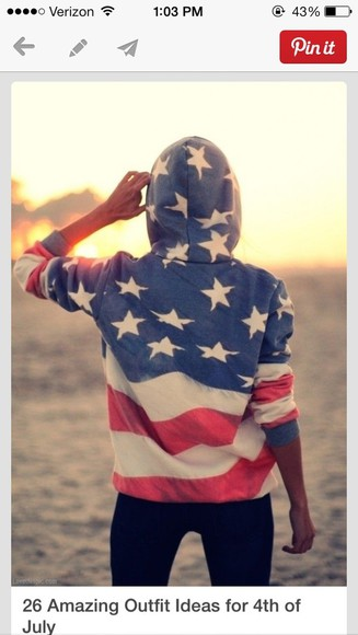 red white and blue american flag jacket sweatshirt hoodie