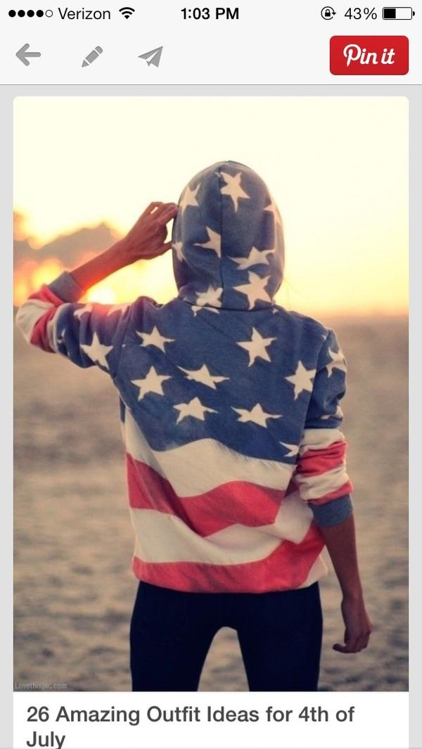 jacket american flag hoodie sweatshirt red white and blue