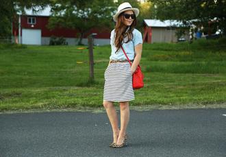 dress corilynn blogger leopard print high heels striped skirt
