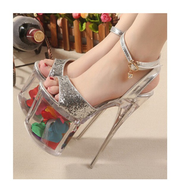 d20520fa987 pumps women shoes high heels silver gold sexy shoes glitter shoes buckle  straps peep toe heels
