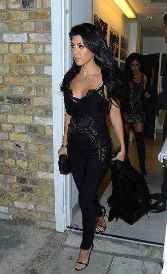 jumpsuit top pants kourtney kardashian all black everything sandals lace bralette bra kardashians