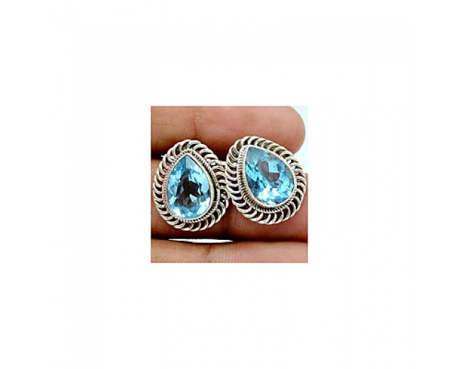 Awesome 925 sterling silver Gemstone Blue Topaz Stud