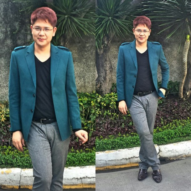 coat teal green sweater