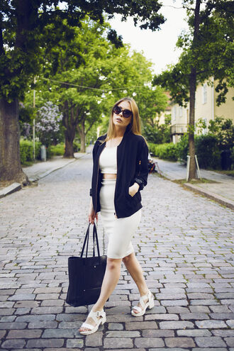 the next episode blogger hipster flat sandals pencil skirt baseball jacket