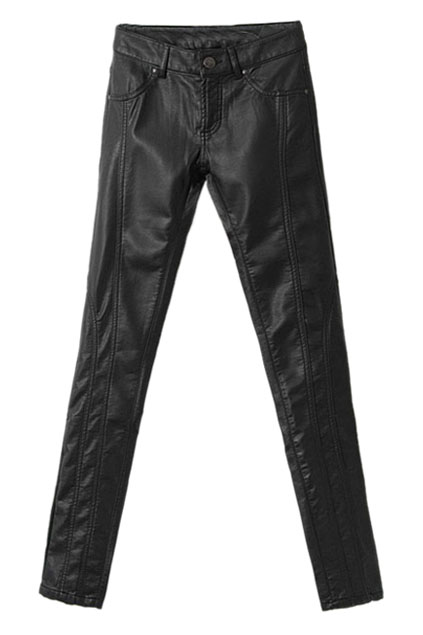 ROMWE | Skinny Faux Leather Black Pants, The Latest Street Fashion