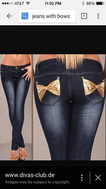 jeans bows cute jeans