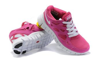 shoes nike free run 2 rose blanc