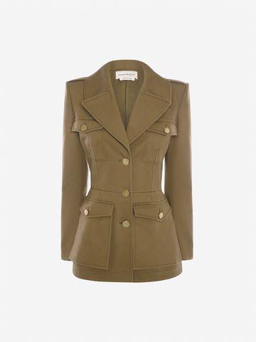 Women's Khaki Green Military Jacket | Alexander McQueen