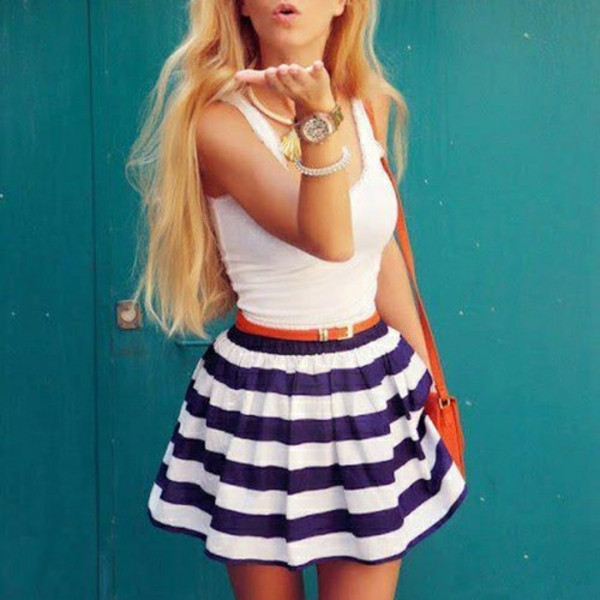 skirt cute stripes blue white fashion belt jewels shirt