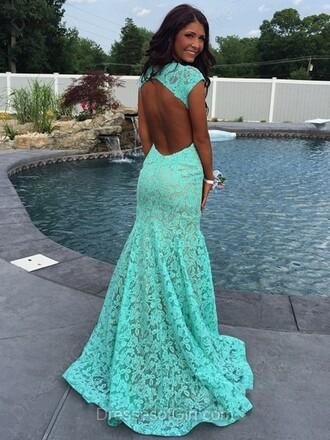dress blue prom gown elegant formal mint lace long dress dressofgirl