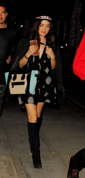 dress lucy hale boots fall outfits hat purse