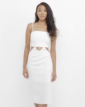 dress white white dress white midi dress little white dress midi dress cut-out dress