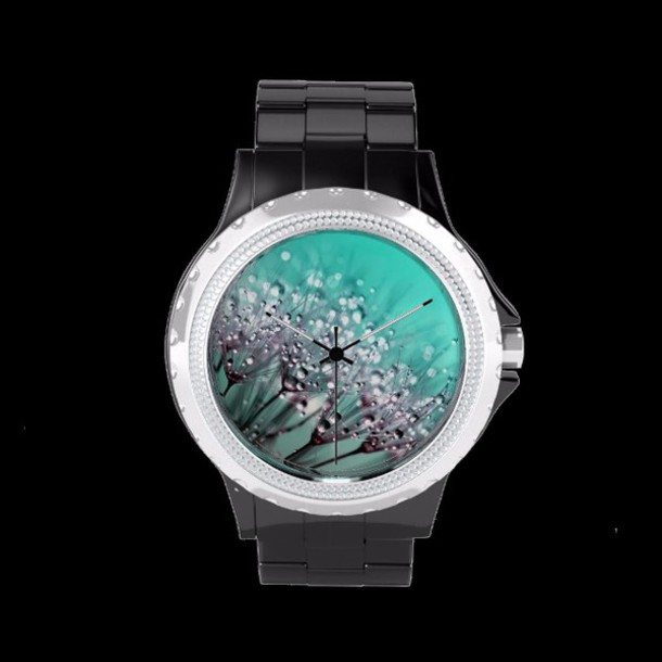 jewels watch dandelion flowers love gift ideas macro blue drops water style design background girl modern