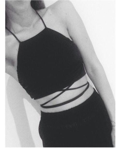 shirt black crop crop tops straps strappy