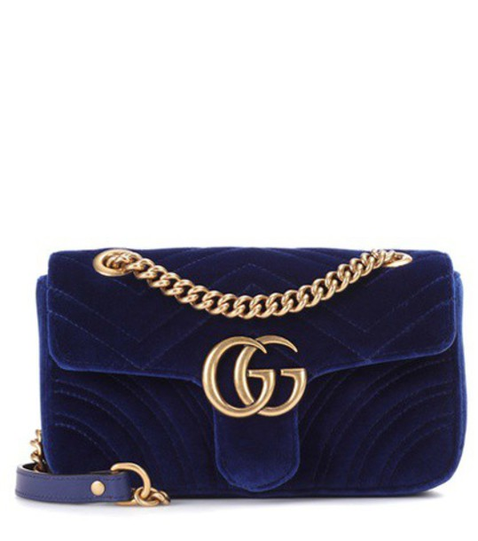 gucci mini bag shoulder bag velvet blue