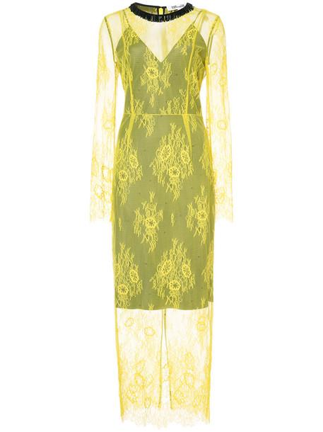 Dvf Diane Von Furstenberg dress lace dress women lace yellow orange
