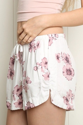 shorts floral pink and white elastic waist shorts
