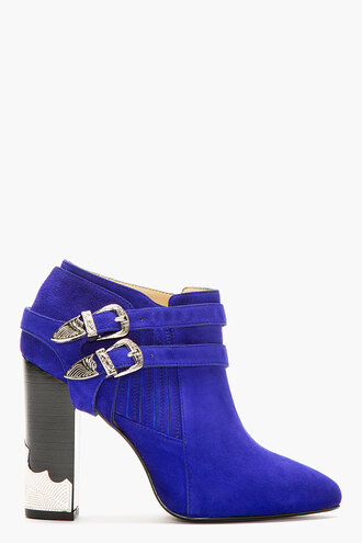 shoes blue western boots suede buckle ankle women