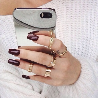 jewels ring knuckle ring nail polish sweater nail accessories phone cover metal mirror iphone silver gold gold ring nails iphone case mirror iphone case iphone 5 case iphone cases iphonecases iphone covers mirrored purple sparkle me following back phone accessory cover phone shiny