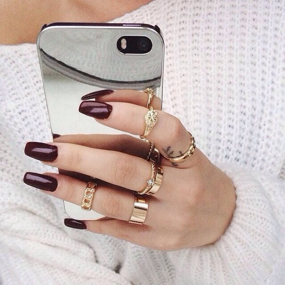 bag iphone mirror case metal silver jewels ring knuckle rings nail polish phone cases iphone case nails gold rings gold rings