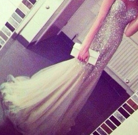 fishtail dress prom dress stunning sparkle diamonds champagne dresses
