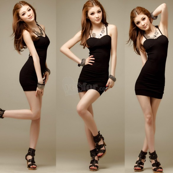 Lady Sexy Slim Lace Mini Dress Backless Cocktail Nightclub Party Black, unit price of $8.67 only - Yesfor.com