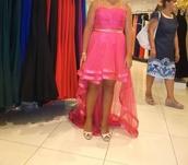 pink dress,front short back long,prom dress,evening dress,gown,little girl,colorful,red dress,orange dress