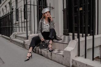 lolita mas blogger coat shirt pants shoes jewels bag hat grey coat spring outfits black pants white shirt pumps
