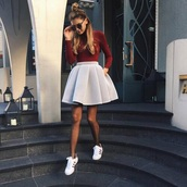 skirt,adidas,grey,red shirt,grey skirt,pink skirt,beige skirt,skater skirt,classic,adidas superstars,fashion,mode,style,girl,white,structured,dress,cute,cute dress,shirt,long sleeves,burgundy,other colors,pink,short,cute outfits,sunglasses,maroon/burgundy,gray skirt,gray coat,outfit,tumblr,fall outfits,spring outfits,plaid skirt