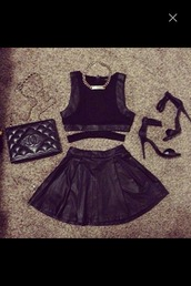 skirt,leather,crop tops,chanel,heels,black,chain,necklace,high waisted skirt,leather skirt,leather crop top,top,party outfits,cut-out,cut out crop top,gold chain,dress