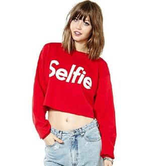 top red long sleeve women printed letter hoodie red long sleeves women print letter hoodie crop tops sexy selfie coat jeans summer party back to school summer to fall red clothing lovely cute girl girly fashion outfit selfiec