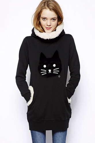 sweater black cute asian kawaii dark comfy winter outfits winter sweater meow cats kawaii dark cozy fleece fashion style turtleneck long sleeves
