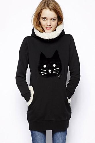 sweater black cute asian kawaii dark comfy winter outfits winter sweater meow cats kawaii dark cozy fleece fashion style turtleneck long sleeves
