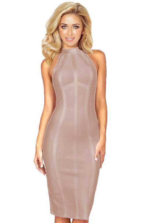 Halter Structured Midi Bandage Dress Nude