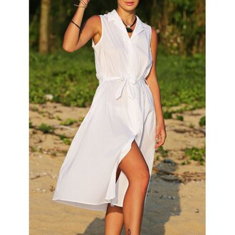 dress white blouse trendy fashion style slit dress summer spring beach rosewholesale.com
