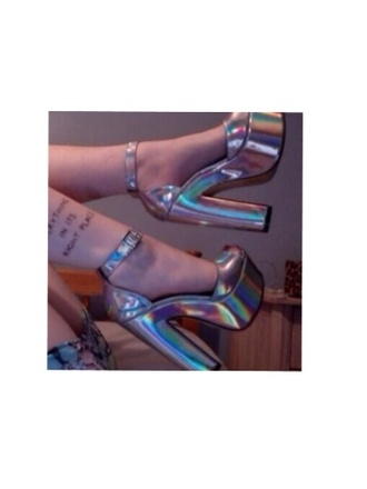 shoes heels silver metallic shoes platform shoes strappy heels buckles lovely tumblr shoes disco high heels holographic