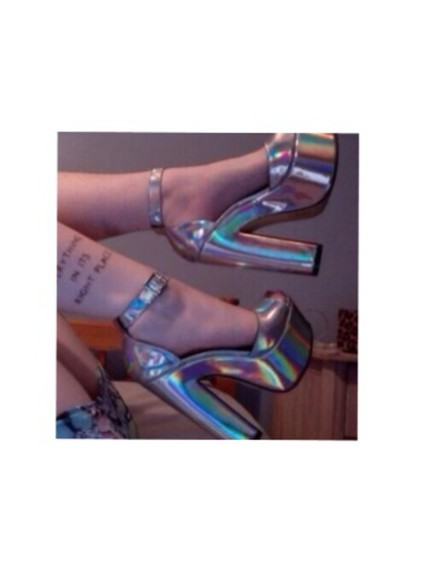 need it please shoes lovely heels, high heels silver metallic shoes platformshoes strappy heels buckles love help me to find tumblr shoes disco