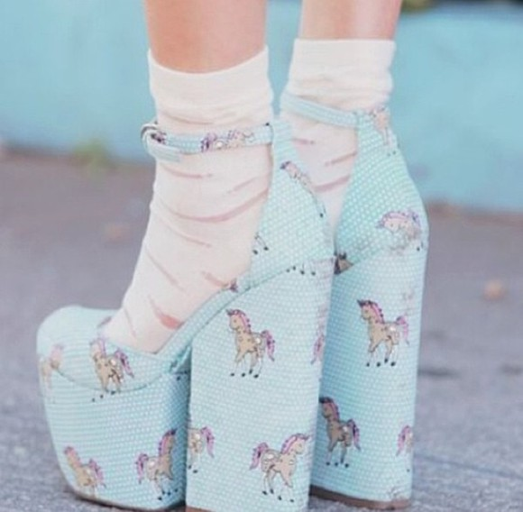 unicorn cute shoes blue baby blue vintage blue light blue high heels cute high heels unicorn shoes adorable socks