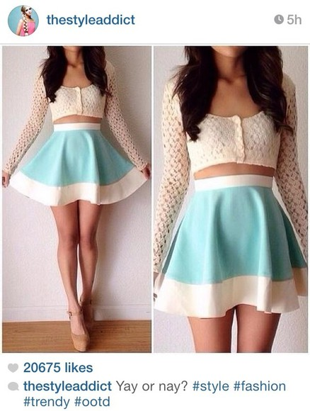 skirt blue skirt white skirt white lace top