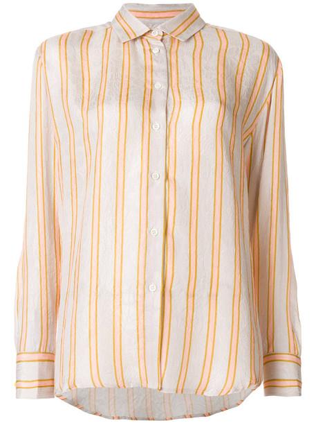 shirt striped shirt women nude silk top