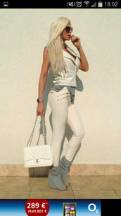 shoes,t-shirt,bag,all white everything,perfecto,booties,grey,chanel,chanel bag,white pants,zipped pants,white top,sunglasses,slimmed,wedge heels,grey shoes,jelena karleusa,chain bag,grey top,aviator sunglasses,blonde hair