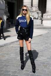 sweater,shorts,sweatshirt,romee strijd,model off-duty,streetstyle,fall outfits,fashion week,over the knee
