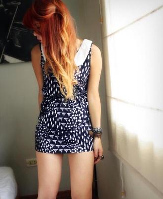 blue skirt white collar white pattern dress short dress