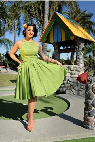 audrey hepburn vintage pin up vintage dress housewife dress rockabilly dress 50s style classic retro dress green dress