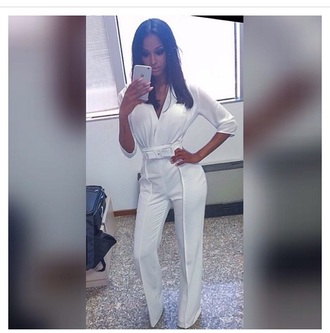 jumpsuit white top white jeans outfit bodysuit romper style belt long sleeves