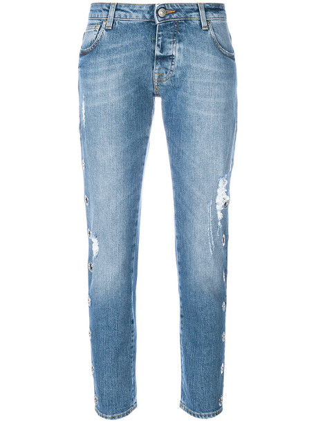 jeans cropped women spandex cotton blue